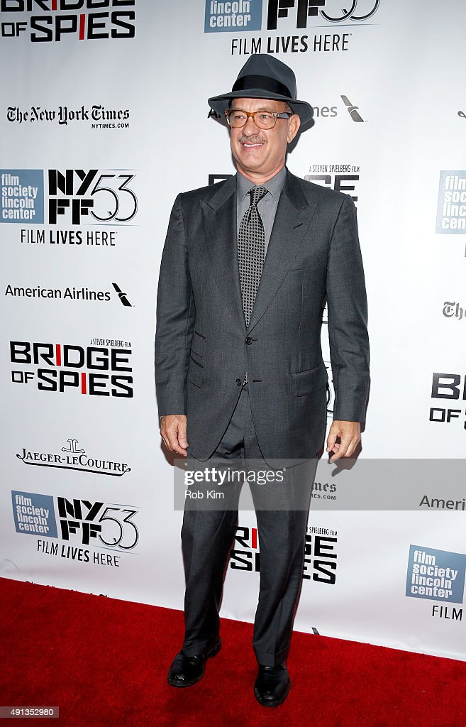<a gi-track='captionPersonalityLinkClicked' href=/galleries/search?phrase=Tom+Hanks&family=editorial&specificpeople=201790 ng-click='$event.stopPropagation()'>Tom Hanks</a> attends the 53rd New York Film Festival - 'Bridge Of Spies' - Arrivals at Alice Tully Hall, Lincoln Center on October 4, 2015 in New York City.