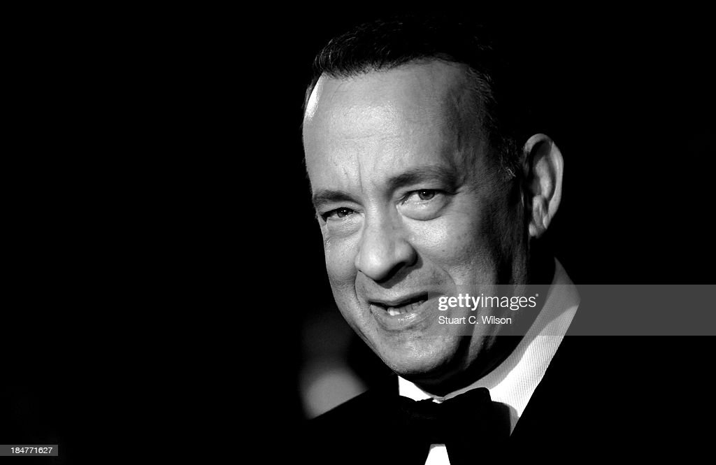 This images had been converted to black and white) attends the Captain Phillips Premiere during the 57th BFI London Film Festival at the Odeon Leicester Square on October 14, 2013 in London, England.
