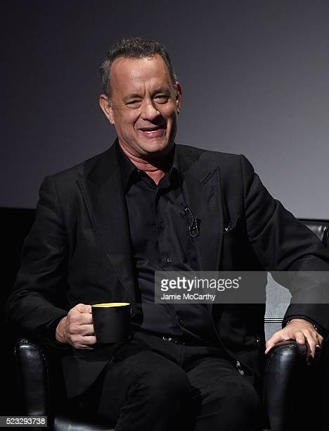 Tom Hanks attends the Tribeca Talks Storytellers Tom Hanks With John Oliver 2016 Tribeca Film Festival at John Zuccotti Theater at BMCC Tribeca...