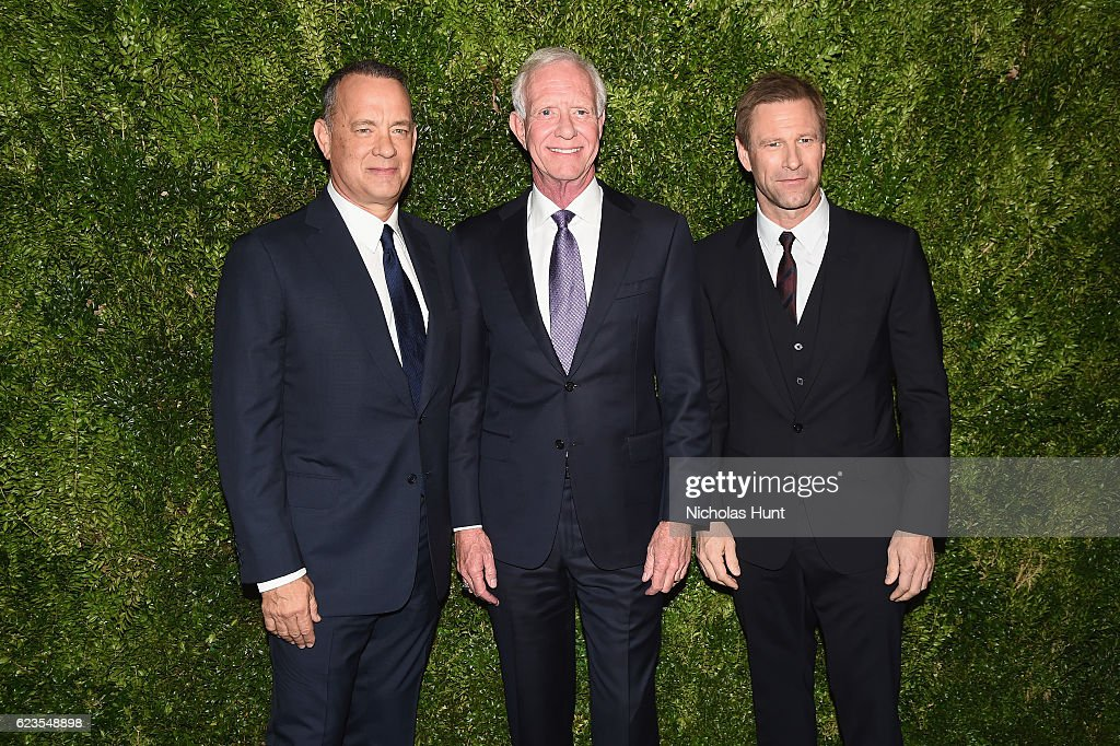 Tom Hanks, Captain Chesley Sullenberger and Aaron Eckhart attend the MoMA Film Benefit presented by CHANEL, A Tribute To Tom Hanks at MOMA on November 15, 2016 in New York City.