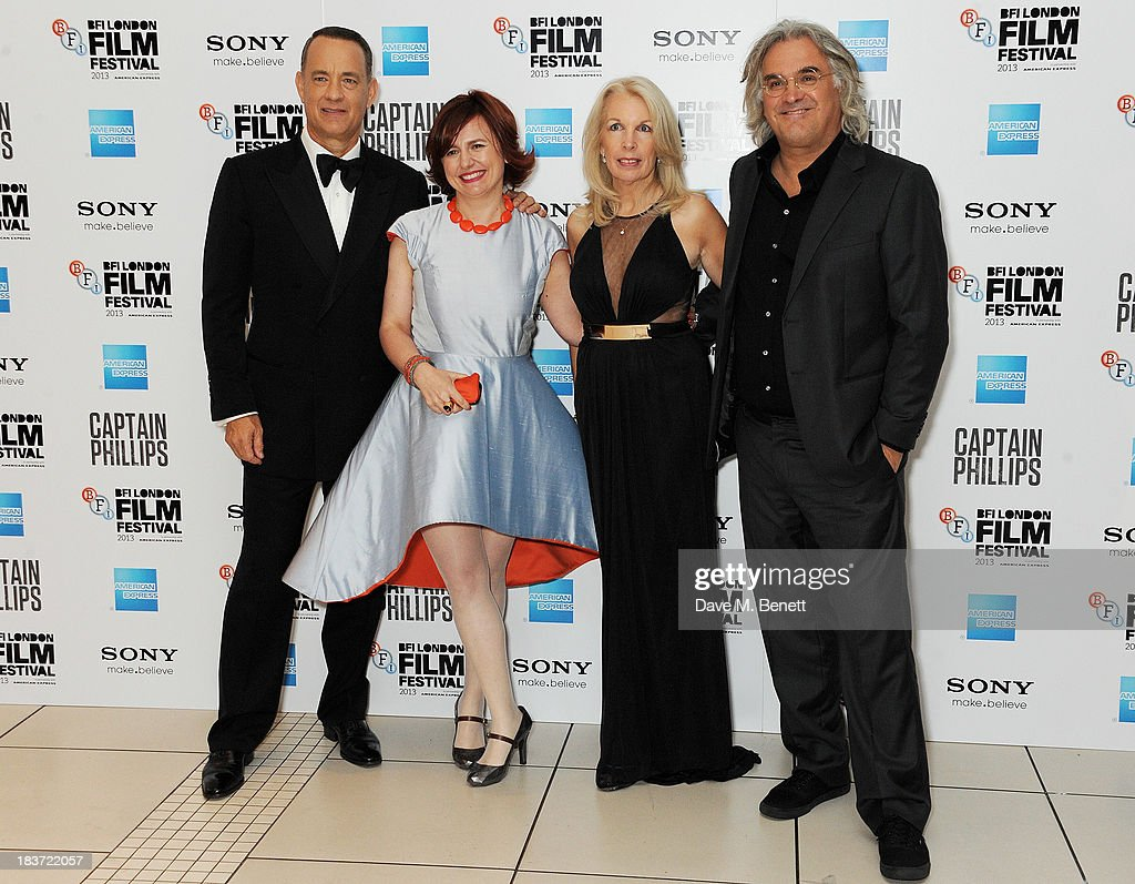 <a gi-track='captionPersonalityLinkClicked' href=/galleries/search?phrase=Tom+Hanks&family=editorial&specificpeople=201790 ng-click='$event.stopPropagation()'>Tom Hanks</a>, Clare Stewart, Amanda Nevill and <a gi-track='captionPersonalityLinkClicked' href=/galleries/search?phrase=Paul+Greengrass&family=editorial&specificpeople=240256 ng-click='$event.stopPropagation()'>Paul Greengrass</a> attend the European Premiere of 'Captain Phillips' on the opening night of the 57th BFI London Film Festival at Odeon Leicester Square on October 9, 2013 in London, England.