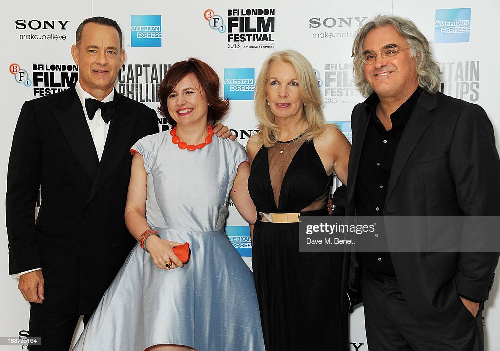 Tom Hanks, Clare Stewart, Amanda Nevill and Paul Greengrass attend the European Premiere of 'Captain Phillips' on the opening night of the 57th BFI London Film Festival at Odeon Leicester Square on October 9, 2013 in London, England.