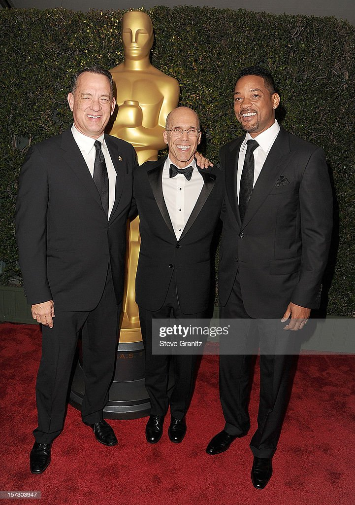 Tom Hanks, Jeffrey Katzenberg and Will Smith arrives at the The Academy Of Motion Pictures Arts And Sciences' Governors Awards at The Ray Dolby Ballroom at Hollywood & Highland Center on December 1, 2012 in Hollywood, California.