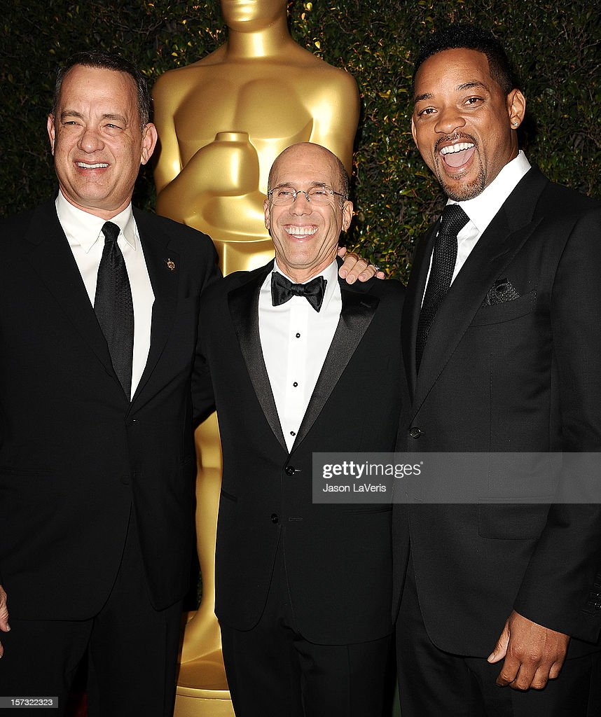 Tom Hanks, Jeffrey Katzenberg and Will Smith attend the Academy of Motion Pictures Arts and Sciences' 4th annual Governors Awards at The Ray Dolby Ballroom at Hollywood & Highland Center on December 1, 2012 in Hollywood, California.