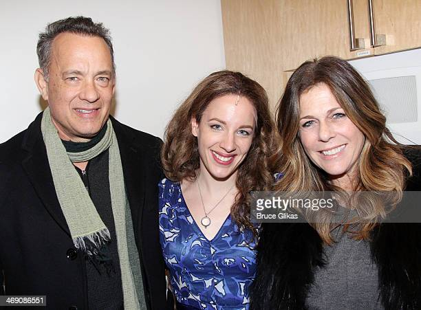 Tom Hanks Jessie Mueller as 'Carole King' and Rita Wilson pose backstage at the hit Carole King musical 'Beautiful' on Bropadway at The Stephen...