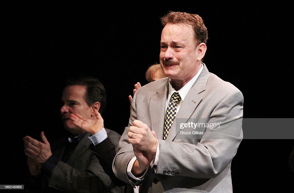<a gi-track='captionPersonalityLinkClicked' href=/galleries/search?phrase=Tom+Hanks&family=editorial&specificpeople=201790 ng-click='$event.stopPropagation()'>Tom Hanks</a> makes his broadway debut and takes his opening night curtain call for Broadway's 'Lucky Guy' at The Broadhurst Theatre on April 1, 2013 in New York City.