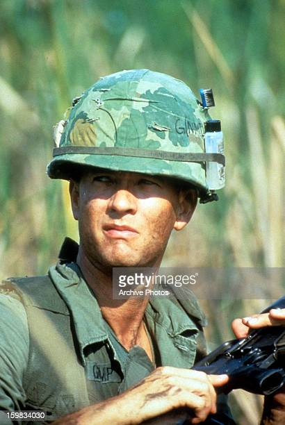 Tom Hanks on the battlefield in a scene from the film 'Forrest Gump' 1994