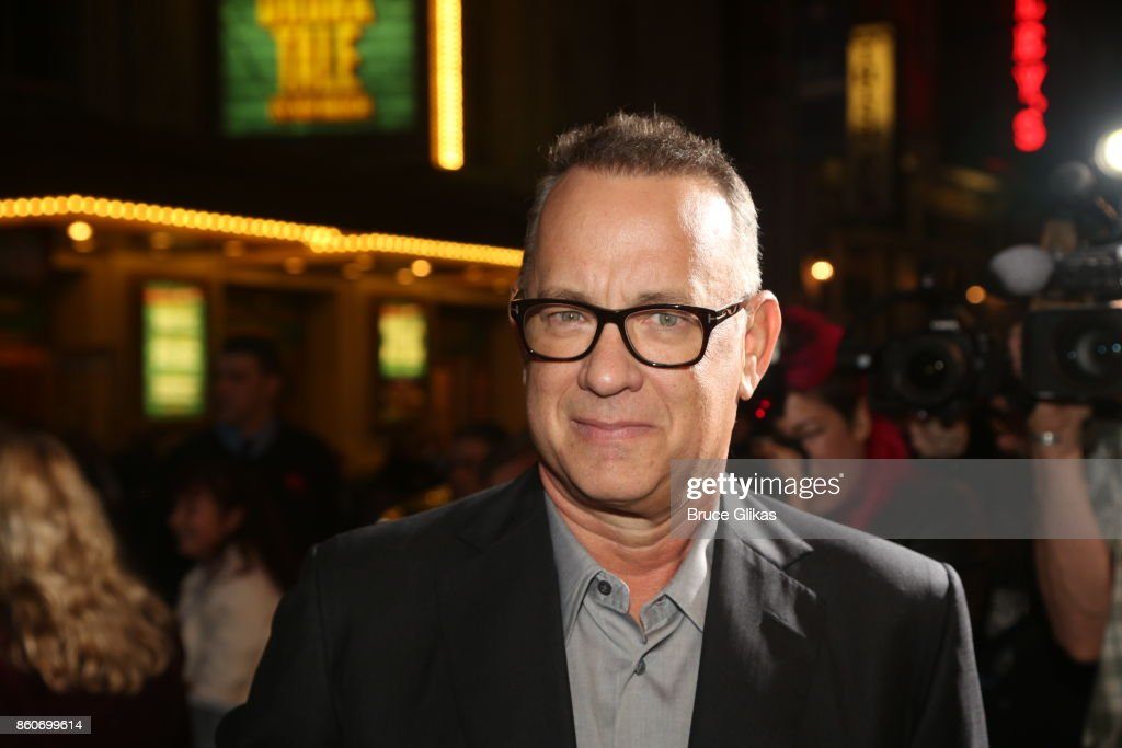 Tom Hanks poses at the opening night arrivals for 'Springsteen on Broadway' at The Walter Kerr Theatre on October 12, 2017 in New York City.