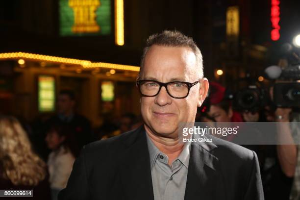 Tom Hanks poses at the opening night arrivals for 'Springsteen on Broadway' at The Walter Kerr Theatre on October 12 2017 in New York City