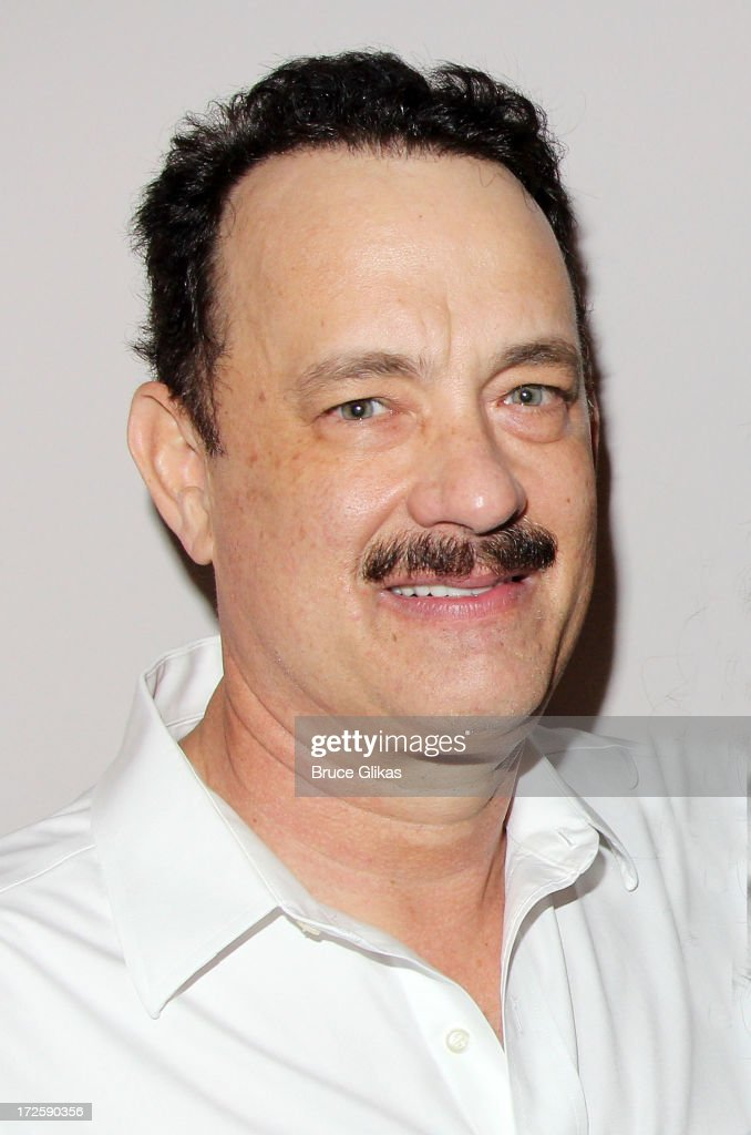 <a gi-track='captionPersonalityLinkClicked' href=/galleries/search?phrase=Tom+Hanks&family=editorial&specificpeople=201790 ng-click='$event.stopPropagation()'>Tom Hanks</a> poses backstage at The Actors Fund of America's benefit final matinee performance of Broadway's 'Lucky Guy' at The Broadhurst Theatre on July 3, 2013 in New York City.