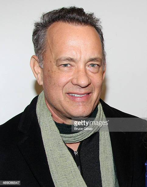 Tom Hanks poses backstage at the hit Carole King musical 'Beautiful' on Bropadway at The Stephen Sondheim Theater on February 12 2014 in New York City