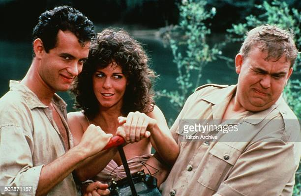 Tom Hanks Rita Wilson and John Candy pose for the TriStar Pictures movie 'Volunteers' circa 1984