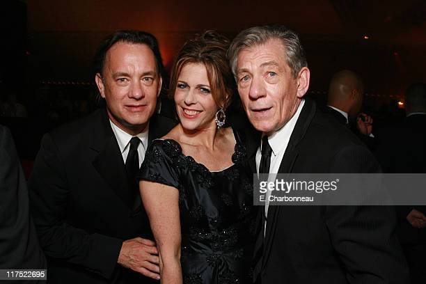 Tom Hanks Rita Wilson and SIr Ian McKellen during Columbia Pictures and Imagine Entertainment World Premiere Party of 'The Da Vinci Code' at Quai...