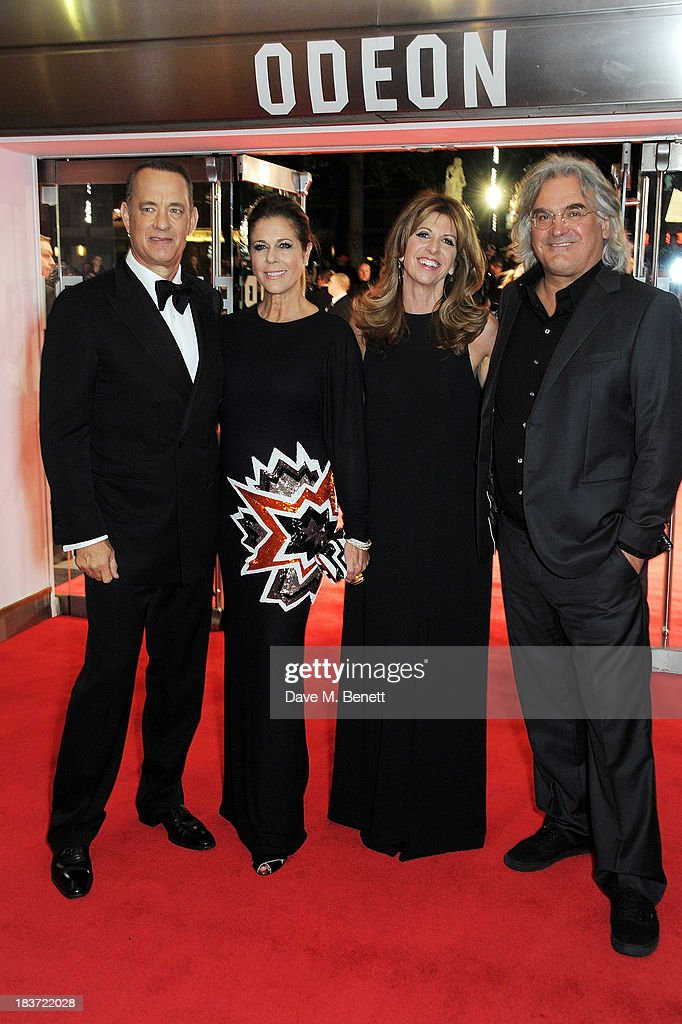 Tom Hanks, Rita Wilson, Joanna Kaye and Paul Greengrass attend the European Premiere of 'Captain Phillips' on the opening night of the 57th BFI London Film Festival at Odeon Leicester Square on October 9, 2013 in London, England.