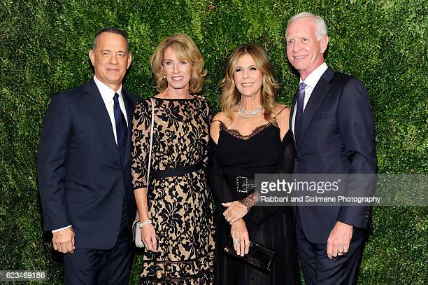Tom Hanks Rita Wilson Lorrie Sullenberger and Chesley Sullenberger attend the 2016 Museum Of Modern Art Film Benefit A Tribute To Tom Hanks at Museum...