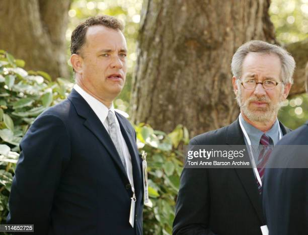 Tom Hanks Steven Spielberg during DDAY 60th Anniversary Celebration ColleVille Omaha Beach United States/France Ceremony at Omaha Beach Normandy...