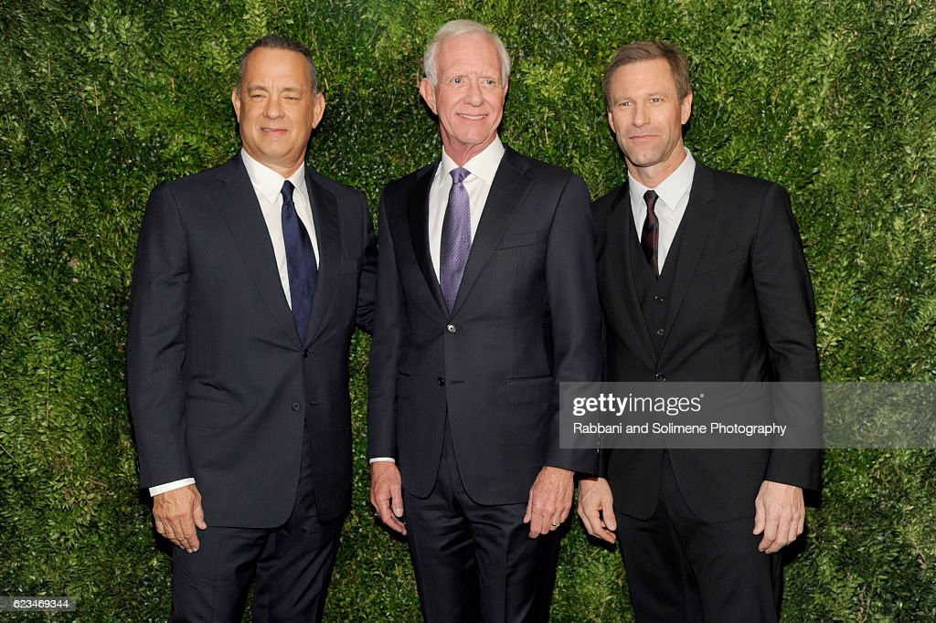 Tom Hanks, Sully Sullenberger and Aaron Eckhart attend the 2016 Museum Of Modern Art Film Benefit presented by Chanel - A Tribute To Tom Hanks at Museum of Modern Art on November 15, 2016 in New York City.