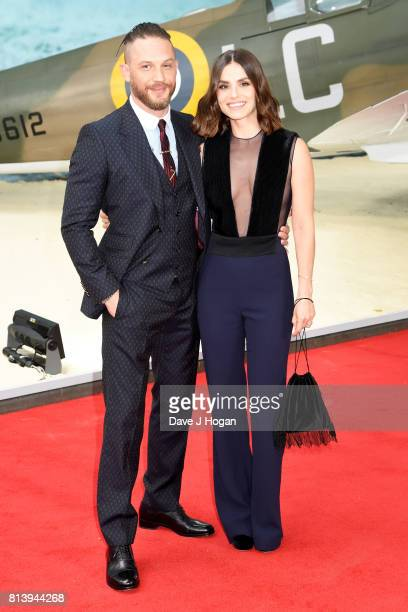 Tom Hardy and Charlotte Riley attend the world premiere of 'Dunkirk' at Odeon Leicester Square on July 13 2017 in London England