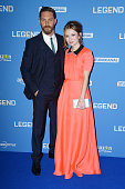 Tom Hardy and Emily Browning attend the UK Premiere of 'Legend' at Odeon Leicester Square on September 3 2015 in London England