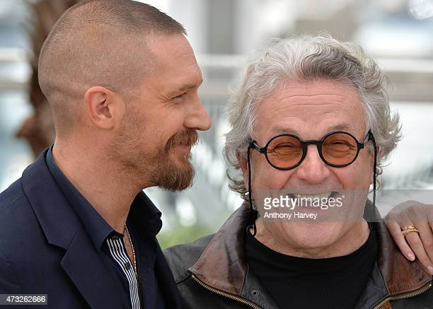 Tom Hardy and George Miller attend the 'Mad Max Fury Road' photocall during the 68th annual Cannes Film Festival on May 14 2015 in Cannes France
