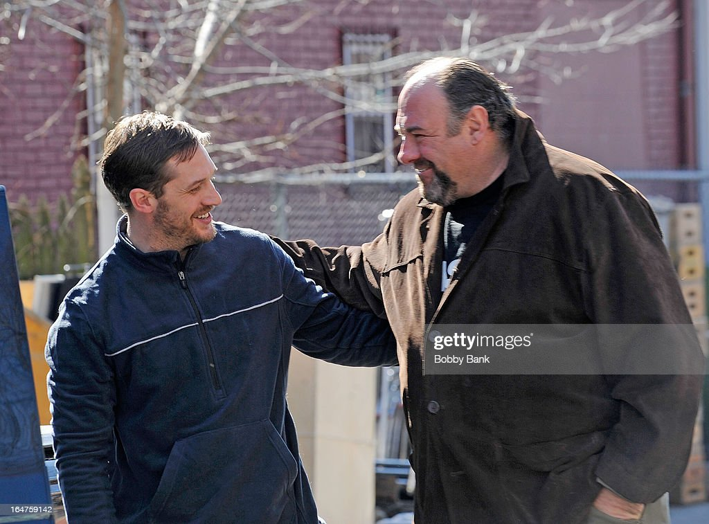 Tom Hardy and James Gandolfini filming on location for 'Animal Rescue' on March 27, 2013 in the Brooklyn borough of New York City.
