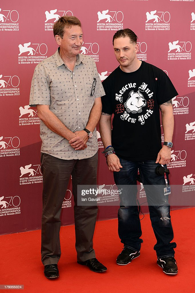 Tom Hardy (R) and Steven Knight wearing a Jaeger-LeCoultre watch attend the 'Locke'' photocall during the 70th Venice Film Festival at the Palazzo del Casino on September 2, 2013 in Venice, Italy.