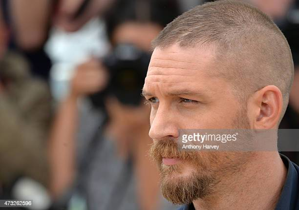 Tom Hardy attends the 'Mad Max Fury Road' photocall during the 68th annual Cannes Film Festival on May 14 2015 in Cannes France