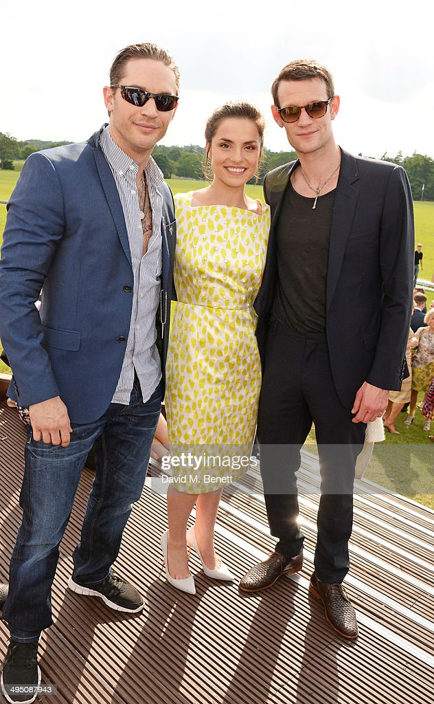 Tom Hardy, Charlotte Riley and Matt Smith attend day two of the Audi Polo Challenge at Coworth Park Polo Club on June 1, 2014 in Ascot, England.