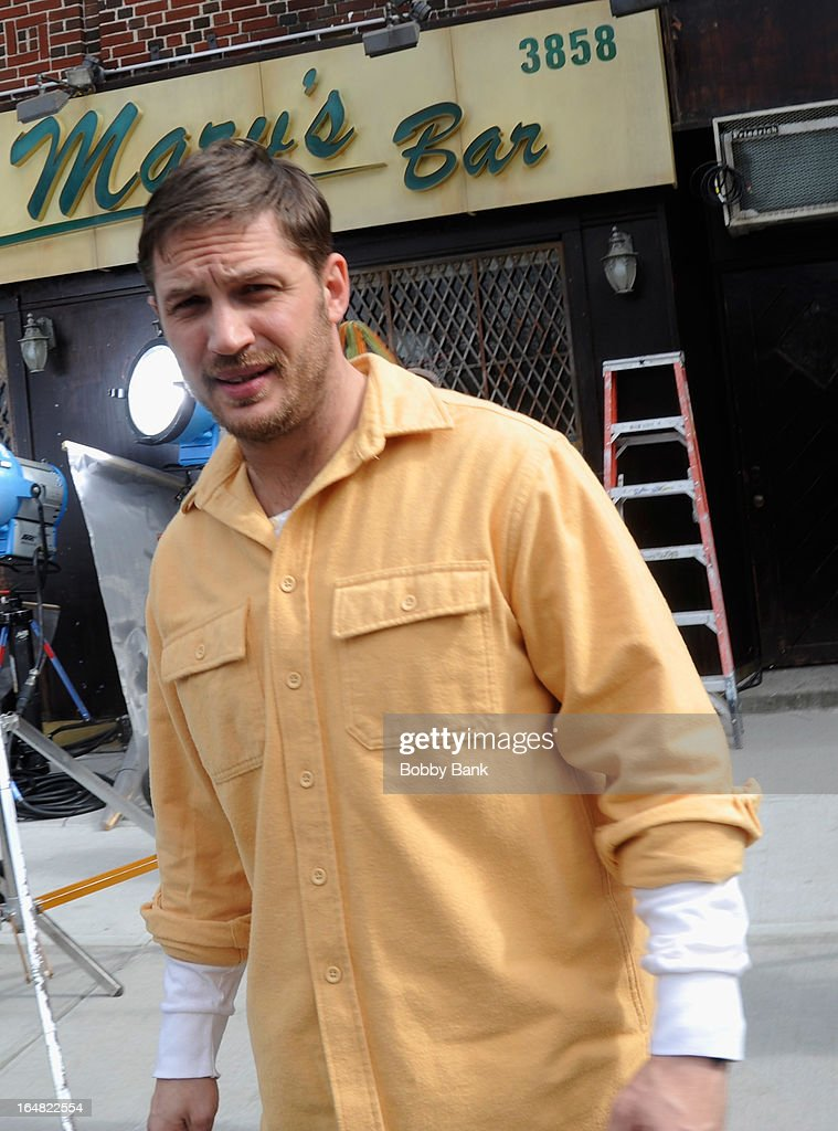 <a gi-track='captionPersonalityLinkClicked' href=/galleries/search?phrase=Tom+Hardy+-+Actor&family=editorial&specificpeople=2209780 ng-click='$event.stopPropagation()'>Tom Hardy</a> filming on location for 'Animal Rescue' on March 28, 2013 in the Brooklyn borough of New York City.