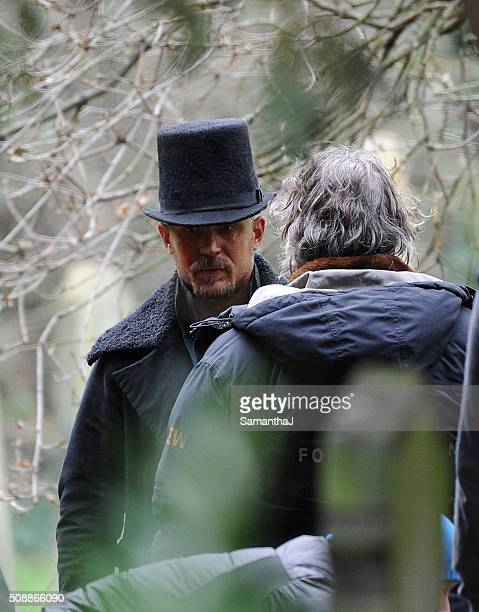 Tom Hardy is seen filming scenes for period drama 'Taboo' on February 05 2016 in Essex England