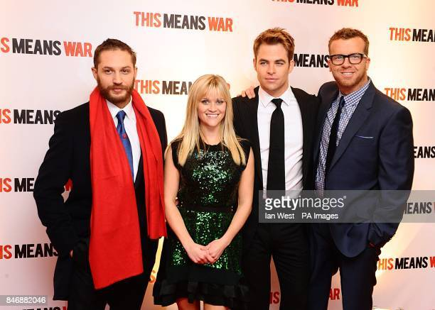 Tom Hardy Reese Witherspoon Chris Pine and director McG arriving for the premiere of This Means War at the Odeon Kensington High Street London