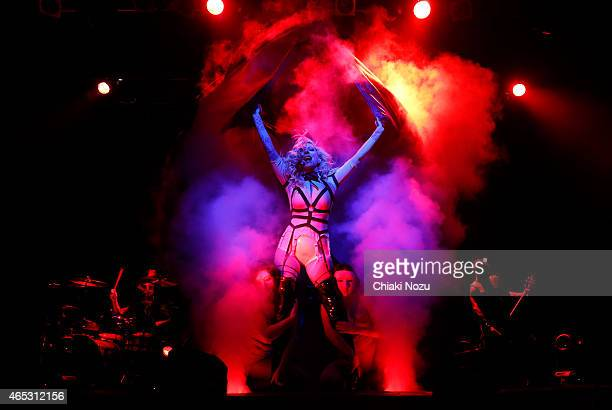 Tom Hare Maria Brink and Travis Johnson of In This Moment performs at KOKO on March 5 2015 in London England