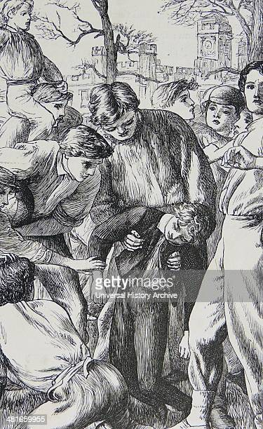 Tom having helped defend his side's goal picked up half senseless by and cared for by senior boys Illustration for 1869 edition of ''Tom Brown's...