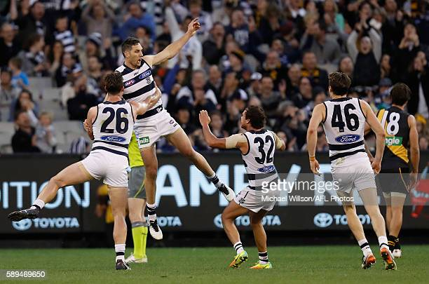 Tom Hawkins Harry Taylor and Steven Motlop of the Cats celebrate a goal during the 2016 AFL Round 21 match between the Richmond Tigers and the...