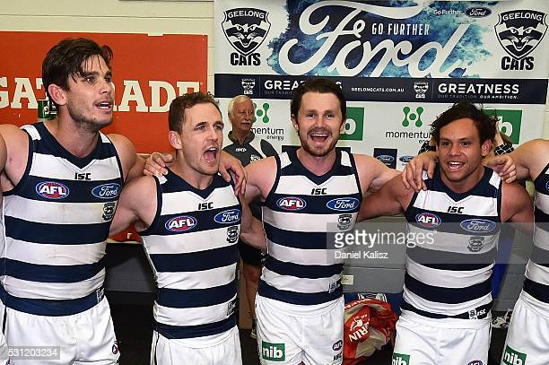 Tom Hawkins Joel Selwood Patrick Dangerfield and Steven Motlop of the Cats sing the club song after the round eight AFL match between the Adelaide...