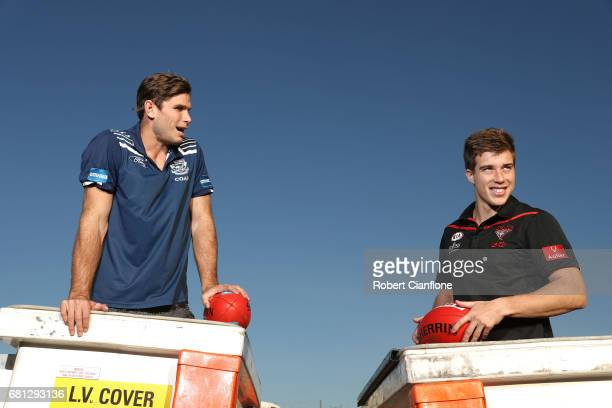 Tom Hawkins of the Cats and Zac Merrett of the Bombers pose during a 2017 AFL Powercor Country Festival Media Opportunity at CitiPower on May 10 2017...