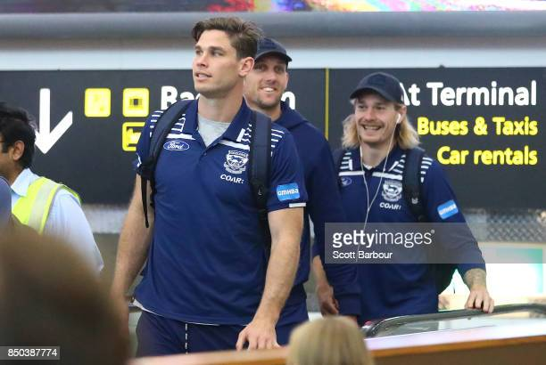 Tom Hawkins of the Cats arrives to fly to Adelaide at Melbourne Airport on September 21 2017 in Melbourne Australia
