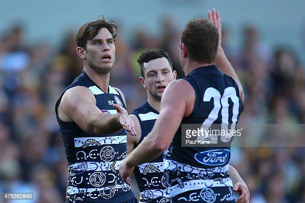 Tom Hawkins of the Cats celebrates a goal during the round nine AFL match between the West Coast Eagles and the Geelong Cats at Domain Stadium on May...