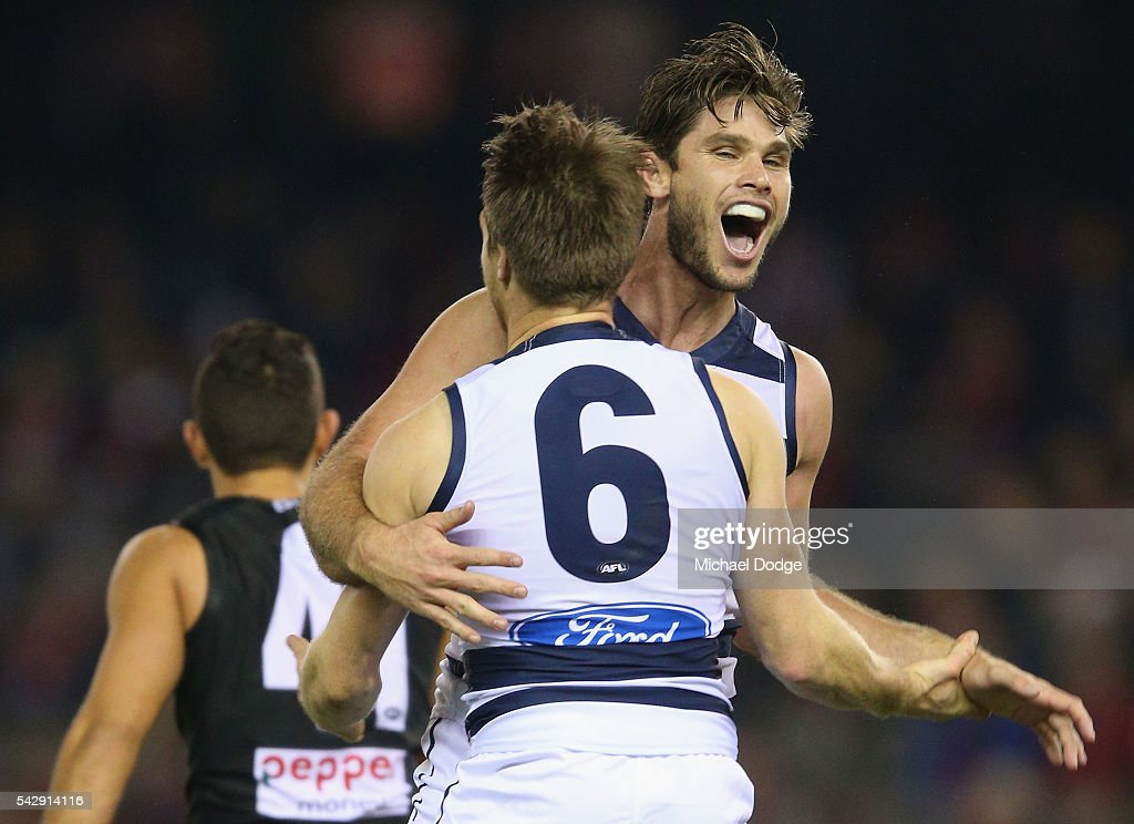 Tom Hawkins of the Cats (R) celebrates a goal with Lincoln McCarthy during the round 14 AFL match between the St Kilda Saints and the Geelong Cats at Etihad Stadium on June 25, 2016 in Melbourne, Australia.