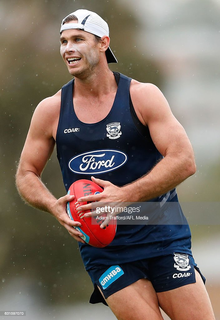 Tom Hawkins of the Cats in action during the Geelong Cats training session at Deakin University, Waurn Ponds on January 13, 2017 in Geelong Australia.