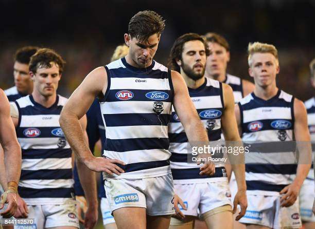 Tom Hawkins of the Cats looks dejected after losing the AFL Second Qualifying Final Match between the Geelong Cats and the Richmond Tigers at...