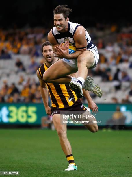 Tom Hawkins of the Cats marks the ball ahead of James Frawley of the Hawks during the 2017 AFL round 04 match between the Hawthorn Hawks and the...