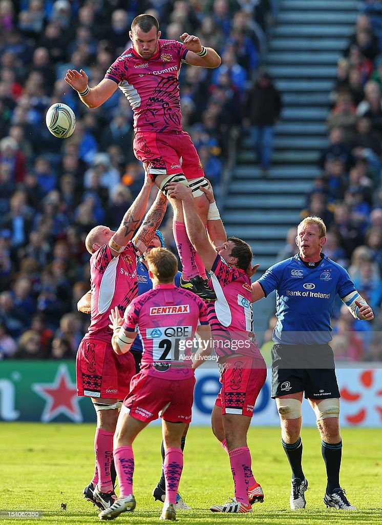 Tom Hayes of Exeter Chiefs wins the ball in a line out during the Heineken Cup Pool 5 match between Leinster and Exeter Chiefs at Royal Dublin Society on October 13, 2012 in Dublin, Ireland.