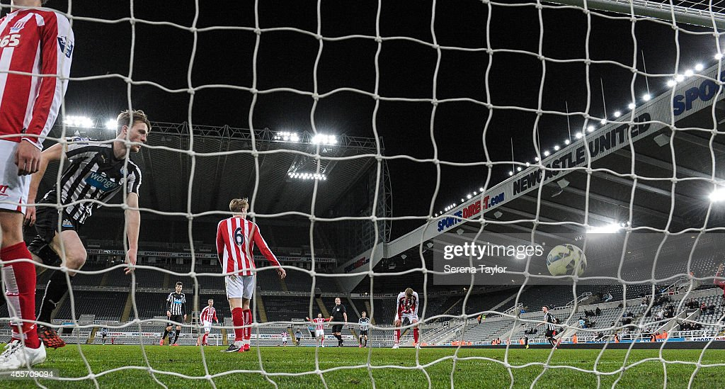Tom Heardman of Newcastle (C) scores the equalising goal during the U21 Barclays Premier League match between Newcastle United and Stoke City at St. James' Park on March 9, 2015, in Newcastle upon Tyne, England, United Kingdom.