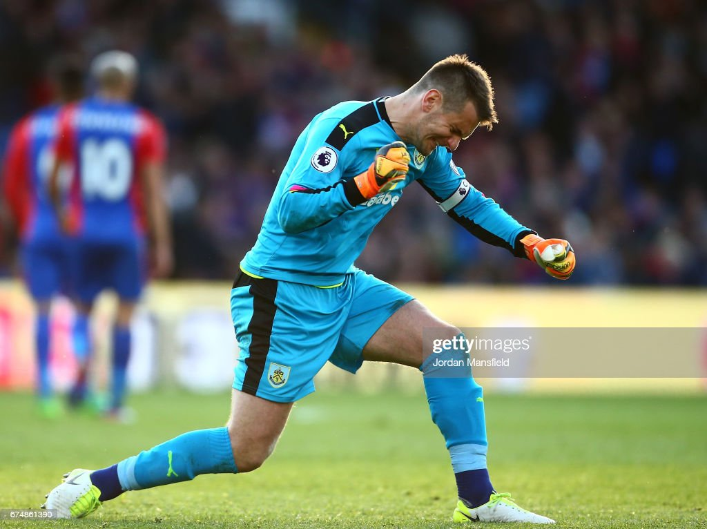Tom Heaton of Burnley celebrates during the Premier League match between Crystal Palace and Burnley at Selhurst Park on April 29, 2017 in London, England.