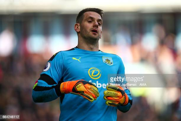 Tom Heaton of Burnley during the Premier League match between Burnley and Tottenham Hotspur at Turf Moor on April 1 2017 in Burnley England