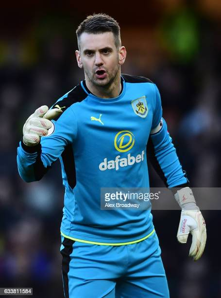 Tom Heaton of Burnley gestures during the Premier League match between Watford and Burnley at Vicarage Road on February 4 2017 in Watford England
