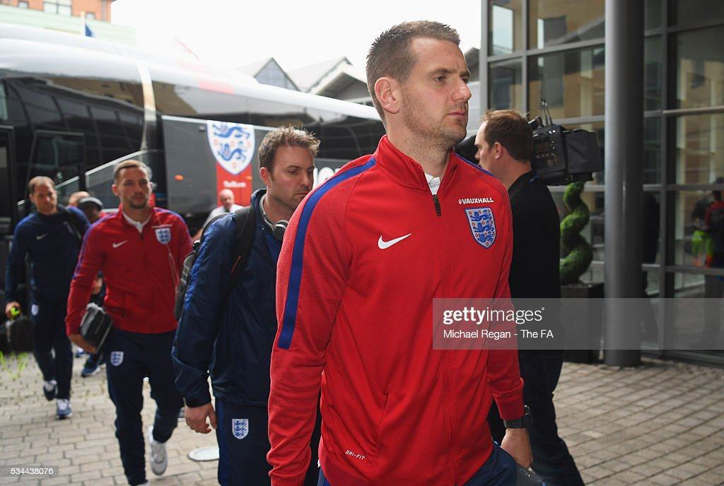 Tom Heaton of England arrives at the team hotel on the eve of their international friendly against Australia at the Hilton Gateshead on May 26, 2016 in Newcastle upon Tyne, England.