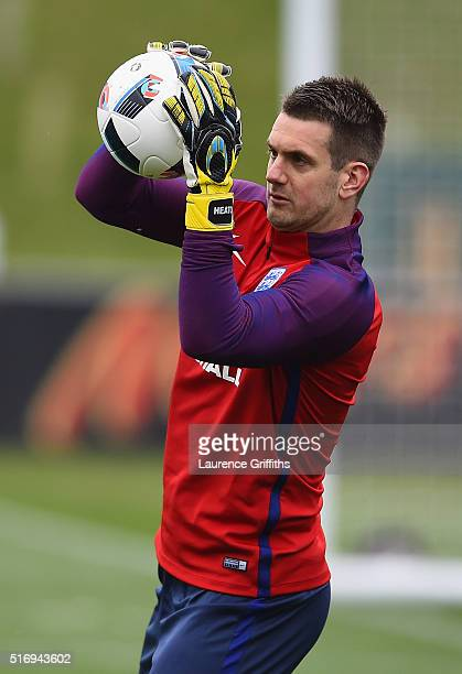 Tom Heaton of England in action during England Training Session and Press Conference at St Georges Park on March 22 2016 in BurtonuponTrent England