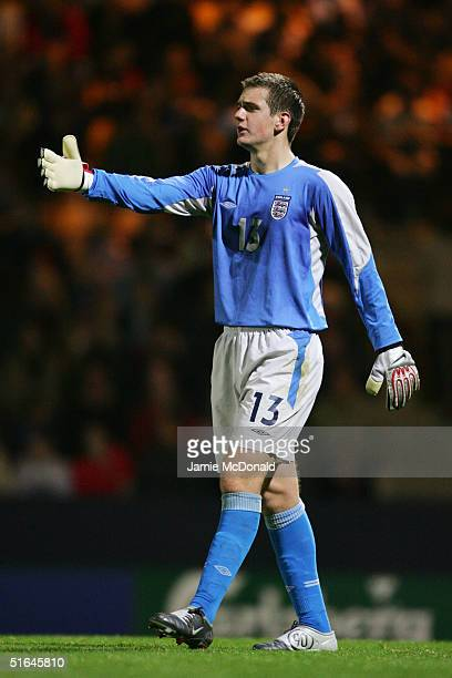 Tom Heaton of England in action during the international friendly match between England U19's and Czech Republic U19's on October 6 2004 at Carrow...